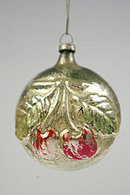 Early 1900s Cherry (Fruit) on Disc Blown Glass Ornament