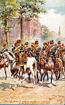 Tucks 1907 7th Hussars Military in London Postcard