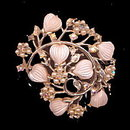 "Lovely Pink Tinge Floral 2 1/4"" Brooch/Pin"