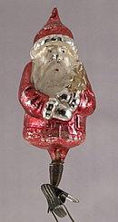 Early 1900s Clip Santa Claus Blown Glass Ornament