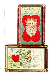 2 1910 Valentine's Day inc Faces Postcards