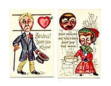 2 Heart Head 1913 Valentine's Day Postcards