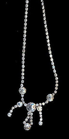 "Lovely 15"" Drop Dangle White Rhinestone Necklace"
