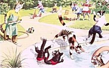 Dressed Cats 'Into the Pool!' Postcard, Mainzer