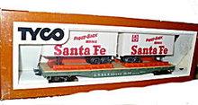 TYCO Santa Fe Piggy Back Trailers in Original Box