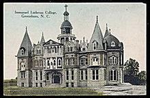 1907 Immanuel Lutheran College, Greensboro, NC Postcard