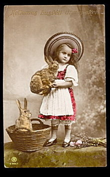 Real Photo Easter Girl with Rabbits 1910 Postcard
