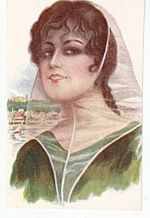 Stunning R Mir 'Spanish Lady' 1914 Girl Postcard #3