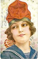 Stunning R Mir 'Spanish Lady' 1914 Girl Postcard #4