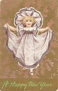 Tucks New Years Girl in Purple Dress 1909 Postcard