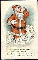 1928 Santa Claus Amidst Letters Postcard