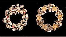 2 Vintage Christmas Wreath Pins Including J.J,