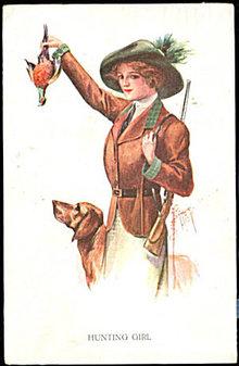 1911 Court Barber 'Hunting Girl' with Dog Postcard