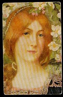 1905 Full Art Postcard of Woman in Flowers Postcard