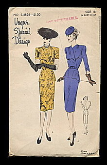 1940s Vogue S-4595 One Piece Dress Sewing Pattern