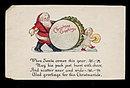 1929 Santa Claus w Kewpie Type Christmas Postcard