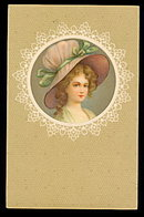 Lovely Girl with Hat/Bonnet 1915 Postcard