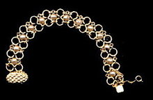 Lovely Goldtone Chain with Faux Pearl Bracelet