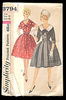 1950s Simplicity 3794 One Piece Dress - Size 18