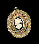 Lovely Faux Pearl & Rhinestone Cameo Pendant