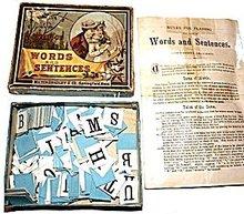 Milton Bradley 'Words and Sentences' Game, ca 1905