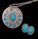 Large Vintage Turquoise Blue Necklace & Earrings Set
