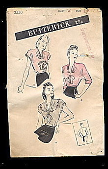 1940s Butterick 3550 Blouse Sewing Pattern