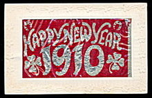 1910 New Years Day Postcard with Celluloid