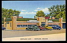 Kentland, IN, Kentland Cafe with Cars 1940s Postcard