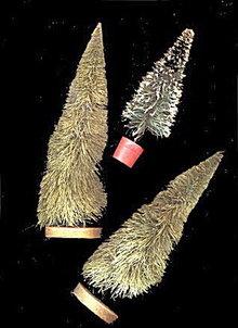 3 Christmas Bottle Brush Trees ca 1940s