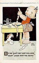'If We Can't Get...' Mabel Lucie Attwell Girl Postcard