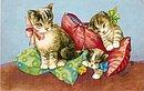 Vintage Cats Among Pillows Belgium Postcard