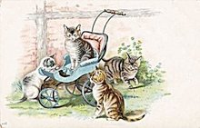 1907 Kittens/Cats in Baby Carriage Postcard