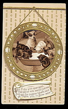 Dogs & Puppies Around Milk Bowl 1907 Postcard