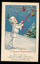 1915 Christmas Girl Ringing Bells Postcard