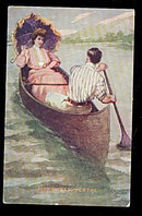 1907 'Sweet Summer Time' Couple Rowing Postcard
