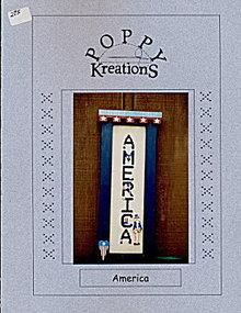 'America' Poppy Kreation Patriotic Cross Stitch Pattern