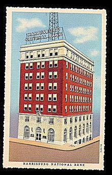 Harrisburg, PA, Harrisburg National Bank 1930s Postcard