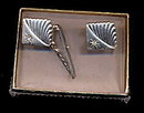 Goldtone w Small Rhinestone Cuff Links & Tie Clip