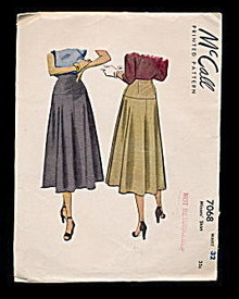 1947 McCalls 7068 Misses Skirt Sewing Pattern