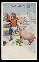 Lovely Child with Pig 1908 'Caught at the Bar' Postcard