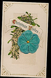 Lovely Winsch Christmas Wishes w Felt Flower Postcard