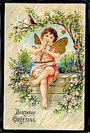 Lovely Child Angel Playing Flute Birthday Postcard