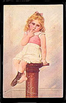 Lovely Girl Sitting on a Stool 1906 Postcard