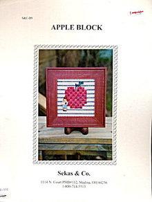 'Apple Block' Apple w Child Cross Stitch Pattern