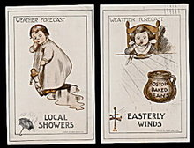 2 'Weather Forecast' Series Children 1910 Postcards