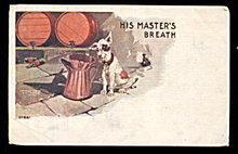 1906 'His Master's Breath' Dog Humor Postcard