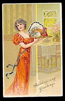 Lovely Thanksgiving Girl Holding Turkey 1907 Postcard