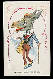 'An Animal Famous for its Bray' Dressed Ass Postcard