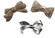 3 Large Ribbon Goldtone & Silvertone Brooches